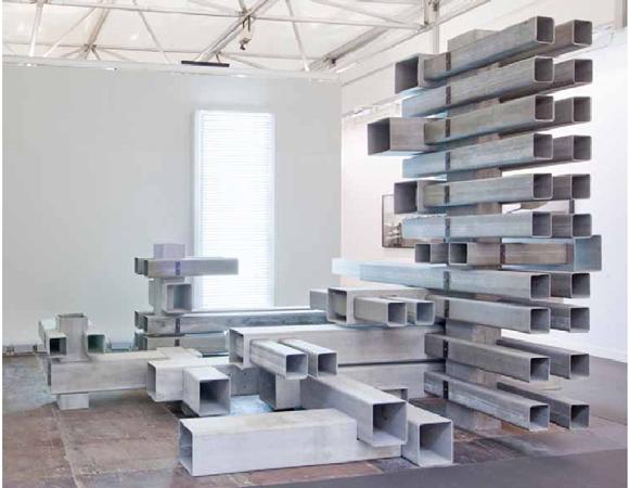 """Nicolas Moulin, """"Interlichtenstadt"""", 2009. Eternit, acier, 290 x 450 x 300 cm."""