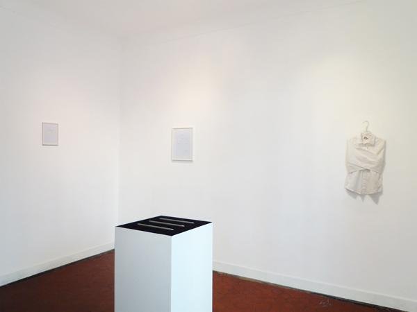 Premier plan : Sans titre (Les règles). Arrière-plan (de gauche à droite) : J'ai peur, je veux être la peur ; Ma Maison ;  Camisole du petit Eric Pougeau. La Maison, galerie singulière, Nice.
