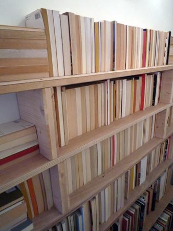 Alexandra Guillot, Sans titre, 2009. Intervention sur la bibliothèque de la Maison, galerie singulière. © Photo : Nicolas Caluaud.
