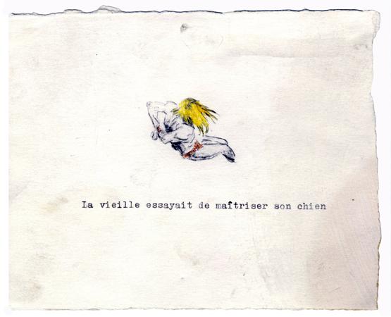Gérald Panighi, La vieille essayait de maîtriser son chien, 2005.